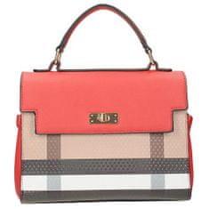 Červená kufříková kabelka s barevným vzorem na přední straně