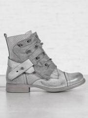 Stylové kotníčkové boty dámské šedo-stříbrné na plochém podpatku