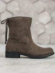 Originální dámské zelené kotníčkové boty na plochém podpatku