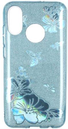 Silikonski ovitek za Samsung Galaxy A40 A405, z metuljčki, moder z bleščicami