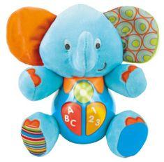 Mikro hračky Slon 18 cm sedící se světlem a zvukem modrý