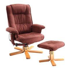 IDEA nábytok Relaxačné masážne kreslo s podnožkou hnedé K47