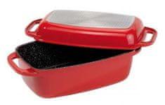 Stoneline Pekáč z litého hliníku s víkem 32 cm červená