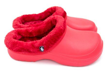 Dámské zateplené clogsy FLAMEshoes B-2002 červeno-červené - 36
