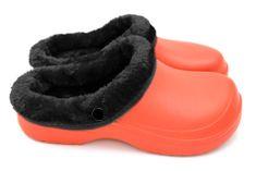 Dámské zateplené clogsy FLAMEshoes B-2002 oranžovo-černé