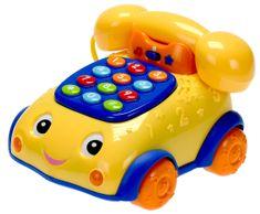 Mikro hračky Telefonek 16 cm naučný žluto-modrý 2 funkce na baterie se světlem a zvukem