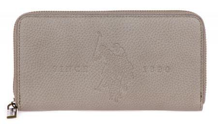 U.S. POLO ASSN. portfel damski Crestwood Large Zip Around Wallet szary