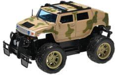 Mikro hračky R/C auto vojenské terénní 24 cm 27 MHz plná funkce na baterie se světlem žluté