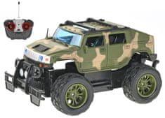 Mikro hračky R/C auto vojenské terénní 24 cm 27 MHz plná funkce na baterie se světlem zelené