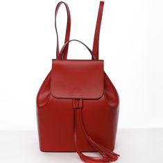 Delami Vera Pelle Mestský dámsky kožený červený batoh City