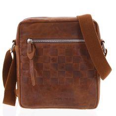 Always Wild Stylová pánská kožená taška s jemným vzorem Tito koňaková