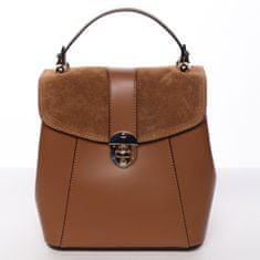 Delami Vera Pelle Elegantný dámsky batôžtek z pravej kože Elis, hnedý