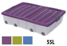 ProGarden Úložný box pojízdný s klip víkem 55 l plastový 80x60x17 cm, zelený