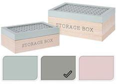 EXCELLENT Úložný box dřevo sada 2 ks šedá