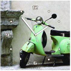 EXCELLENT Hodiny nástěnné, 30x30x2,5 cm, zelený skůtr