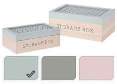 EXCELLENT Úložný box dřevo sada 2 ks zelená
