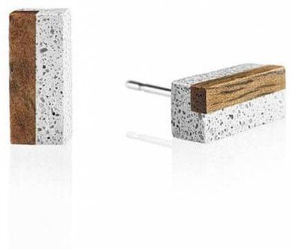 Gravelli Náušnice z betónu a dreva Block Wood GJEWWOG004UN