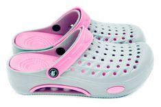 Dámské clogsy FLAMEshoes B-2006 šedo-růžové