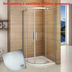 H K Štvrťkruhový sprchovací kút HARMONY S4 90 cm s dvojdielnymi posuvnými dverami vrátane sprchovej vaničky z liateho mramoru