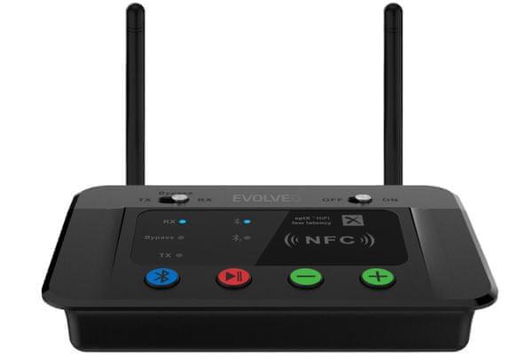 evolveo audioconverter xs Bluetooth vysílač a přijímač dac adc analog bypass 2 zařízení současně nfc nízká spotřeba drátové i bezdrátové připojení