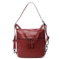 Delami Vera Pelle Módní dámská kožená kabelka batoh Emma červená