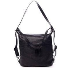 Delami Vera Pelle Módní dámská kožená kabelka batoh Emma černá