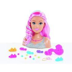 Barbie česací styling hlava s růžovými vlasy