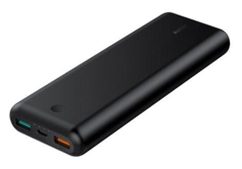 Aukey Force Series powerbanka s konektory USB-C a USB 3.0, Quick Charge 3.0, 20 100 mAh, 18 W, černá (LLTS179139)