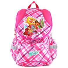 Winx Club Školský plecniak , ružový, motív štvorce