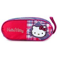 Hello Kitty Školní penál , jeans, motiv kostky