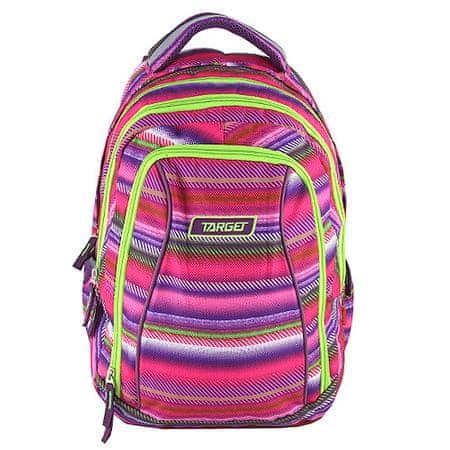 Target Iskolai hátizsák 2in1 , Színes csíkok, rózsaszín - zöld