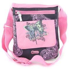 Target Kabelka cez plece , čierna s ružovými ornamentami, s motívom motýľa
