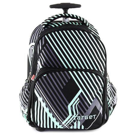 Target Célzott iskolai hátizsák kocsi, fekete, zöld / szürke díszekkel