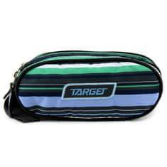 Target Docelowy piórnik szkolny, Dwukomorowe, zielono-niebiesko-szare paski