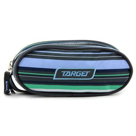 Target Célzott iskolai ceruza tok, Egyszerű, zöld-kék-szürke csíkok