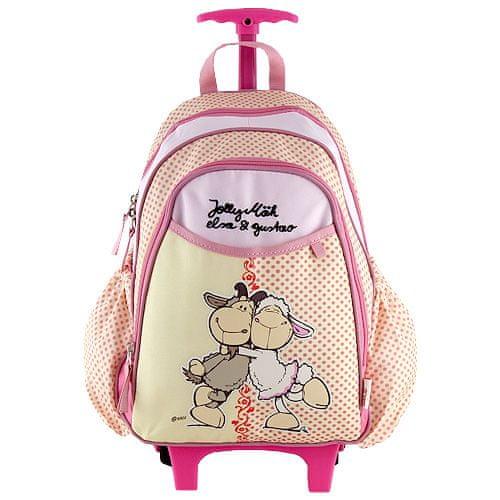 Nici Batoh trolley mini , růžovo-žlutý, dvě ovečky