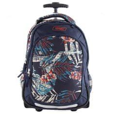 Target Docelowy wózek plecaka szkolnego, Ciemnoniebieski z nadrukowanymi liśćmi, 2 kółkami, rączką