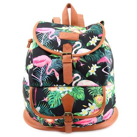 Target Cél hátizsák, Fekete flamingóval, barna műbőr