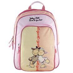 NICI iskolai hátizsák, sárga-rózsaszín, két juhocska