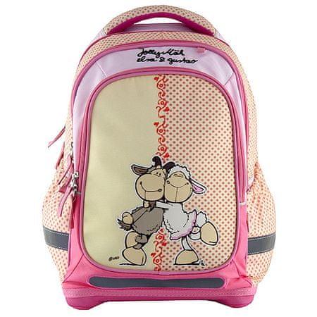 NICI Plecak szkolny , żółta z różowymi kropkami