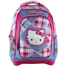 Hello Kitty Iskolai hátizsák , rózsaszín-kék négyzetek