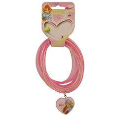 Winx Club Náramky PVC Winx Club, Náramky PVC 6ks, prívesok srdce Flora svetloružová