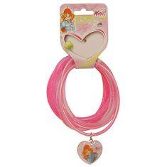 Winx Club Náramky PVC Winx Club, Náramky PVC 6ks, prívesok srdce Bloom tmavoružová