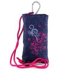 Target Pouzdro na mobil , džínové, s růžovým motivem květin