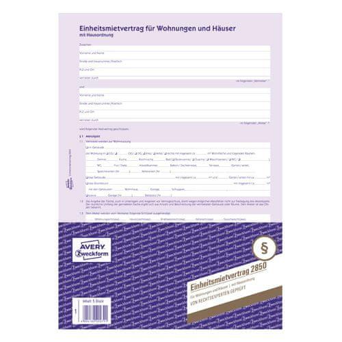 Avery Zweckform Nájemní smlouva DE , 2850 pro pronájem bytů a domů, A4, 6 stranná