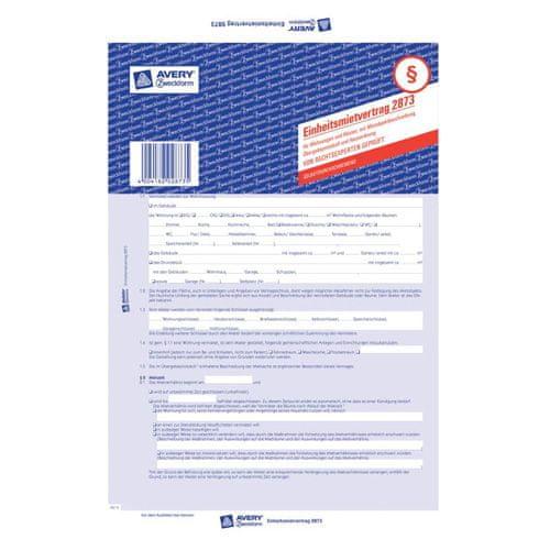 Avery Zweckform Nájemní smlouva DE , 2873 pro pronájem bytů a domů, A4, 5 stranná