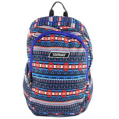 Target Cél hátizsák, Kék, piros mintákkal