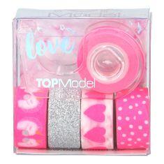 Top Model Dekorační lepicí pásky ASST, 1x držák, 5x páska - růžové