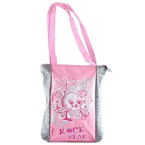 Target Nákupní taška , šedá s růžovým motivem Rock Star