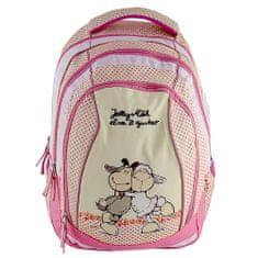 NICI Iskolai hátizsák 2in1 , sárga-rózsaszín, két juhocska